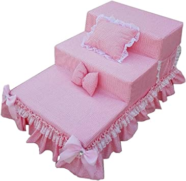 IG Pet Gear paso fácil de la escalera por Bed Gatos/Perros extraíbles lavables de la alfombra Pisadas, ahorro de espacio de múltiples posiciones Diseño,Rosado: Amazon.es: Bricolaje y herramientas