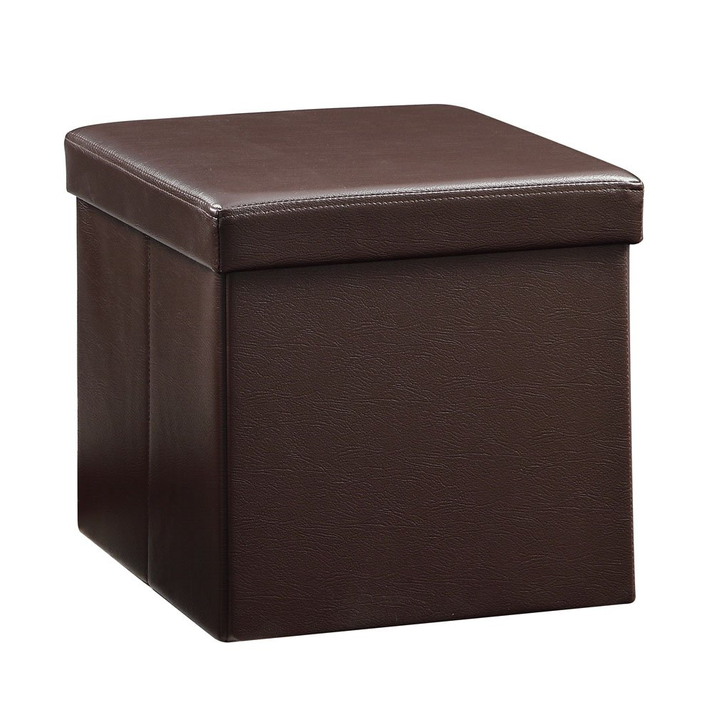 "Total Win - Faux Leather Foldable Storage Ottoman - Brown (15""Lx15""Wx15""H) 
