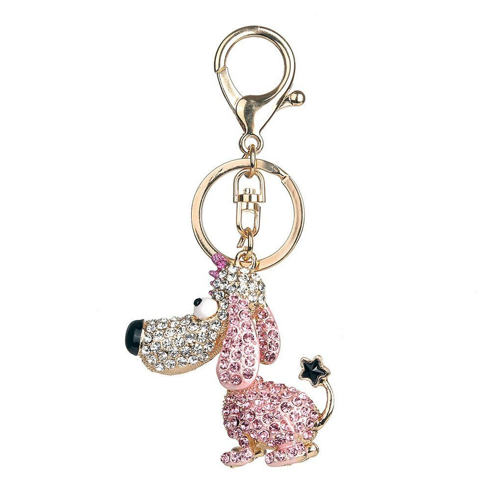 Bangle009 Clearance Sale Lovely Rhinestone Dog Keyring Keychain Car Key Holder Purse Bag Decor Gift
