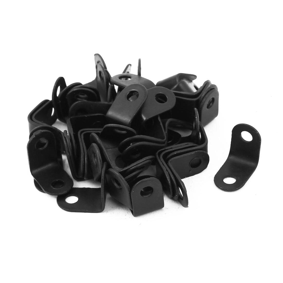 uxcell 16mmx10.5mmx16mm 90 Degree Metal Angle Brackets Corner Braces Black 50pcs