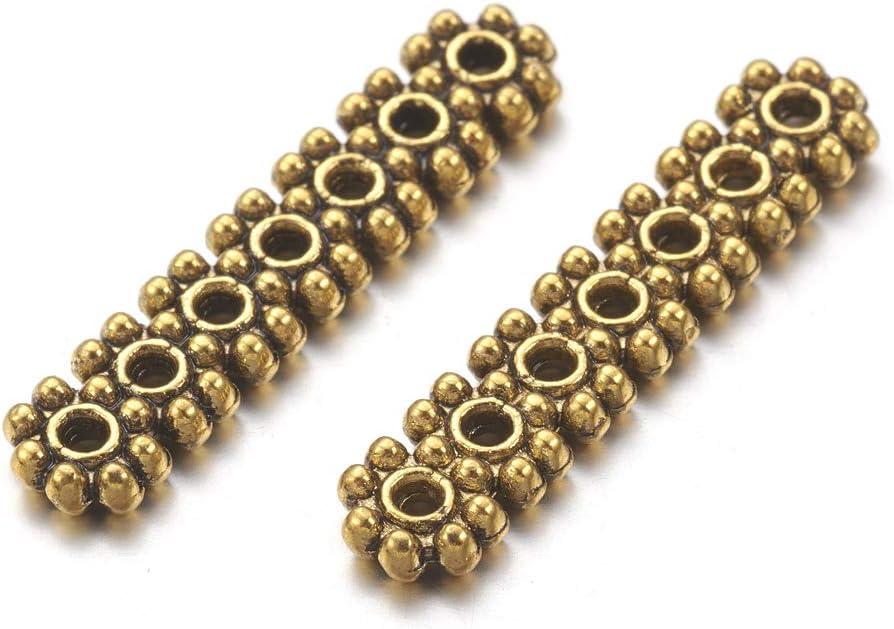 Pcs Art Hobby Jewellery Tibetan Flower Spacer Beads 2 x 8mm Antique Silver 50