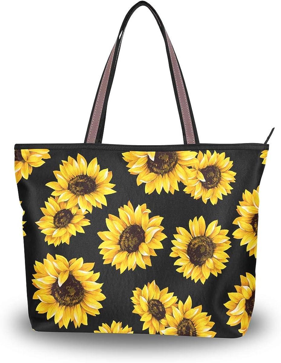 Zip Tote Bag Watercolor Sunflower Women's Handbags Shoulder Bags Satchel Purse
