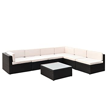 Amazon Tangkula 7 PCS Wicker Furniture Set Sectional Sofas