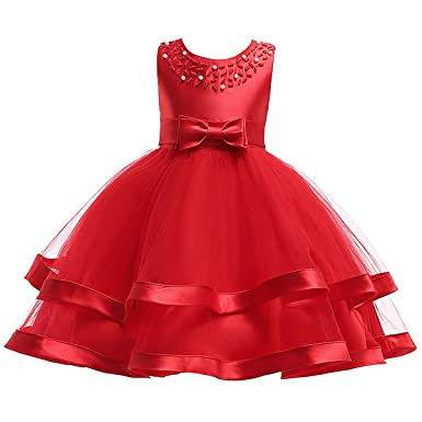 273113f6f55 Flower Girl Dress Sleeveless Tulle Ruffles Bow Tie Sundress Wedding Party  Pageant Princess Dresses for Girls