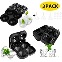 LBLA 3PACK Ice Cube Trays Silicone Ice Cube Mould Ice Ball Maker Diamond Skull Shape Cube Maker with Removable Lids, Funnel and Non-Spill Lid for Freezer Whiskey Cocktail