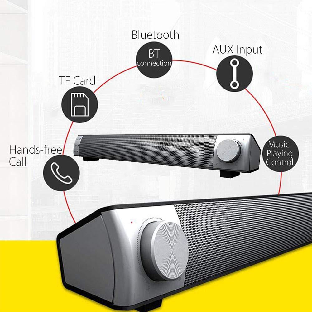 Hellycuche Altavoces de Barra de Sonido Envolvente Bluetooth con subwoofer Bajo Pesado Cine en casa Cine Altavoz de Barra de Sonido inal/ámbrica Altavoz est/éreo de Audio para TV Tel/éfono de PC