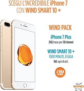 Apple iPhone 7 Plus Smartphone, 128 GB (incluidos) + tarjeta SIM Wind recargable con oferta Wind Smart 10 + Wind Pack: Amazon.es: Electrónica