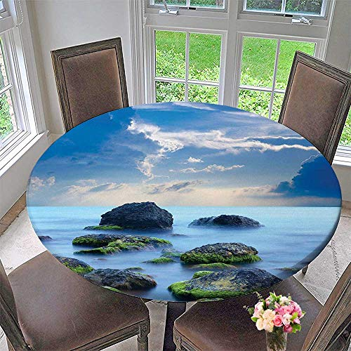 Mikihome Round Premium Table Cloth Stones and Mystic Caribbean Photo Print Decor Slate Grey Sky Blue Cyan White Perfect for Indoor, Outdoor 47.5