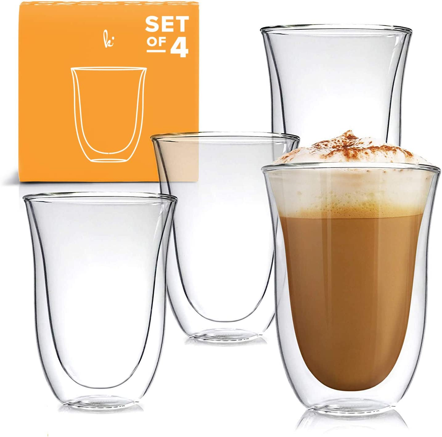 Amazon Com Latte Cups Double Walled Coffee Glasses Set Of 4 Clear Glass Thermo Insulated Stackable Mugs 7 5oz Coffee Cups Mugs