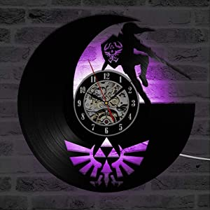 Fancylife The Legend of Zelda Antique LED Lighting Vinyl Record Wall Clock Shadow Art Game Home Decor Classic Creative Wall Watches