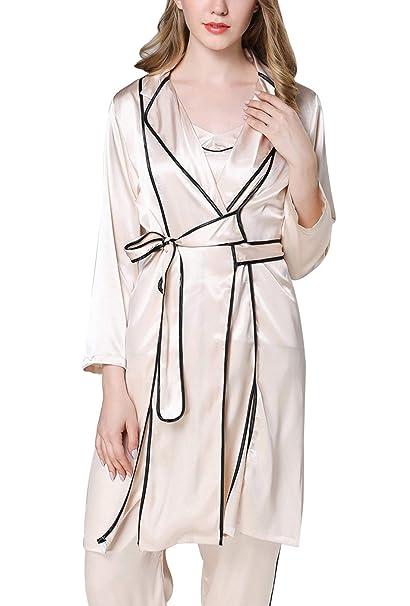 Aivtalk Vestido de Kimono de Manga 3/4 con Bata de baño de Seda Artificial para Mujer de Primavera Verano: Amazon.es: Ropa y accesorios