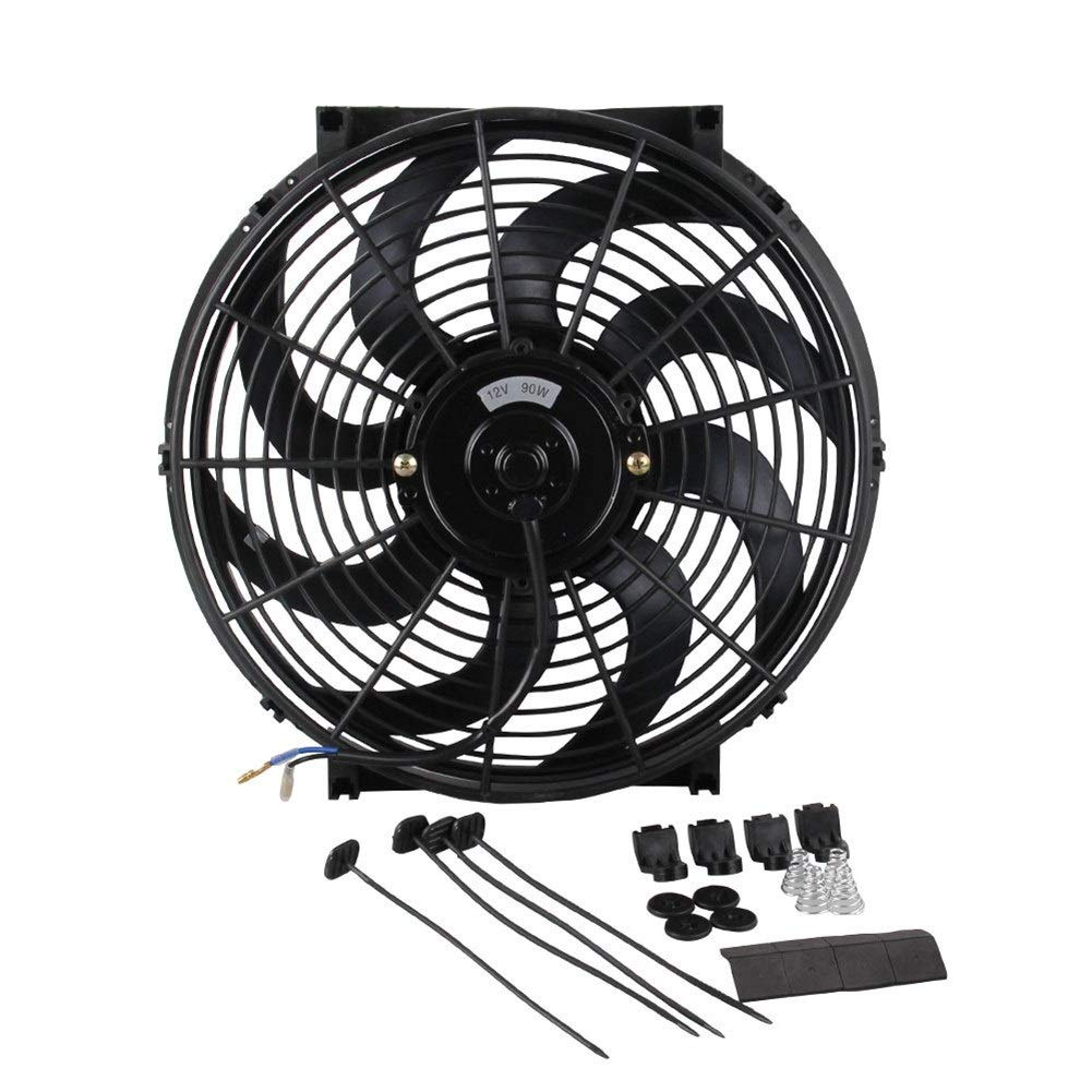 QinMei Zhou Car fan high power modified water tank fan car cooling fan curved fan blade 14 inches (Color : Black) by QinMei Zhou