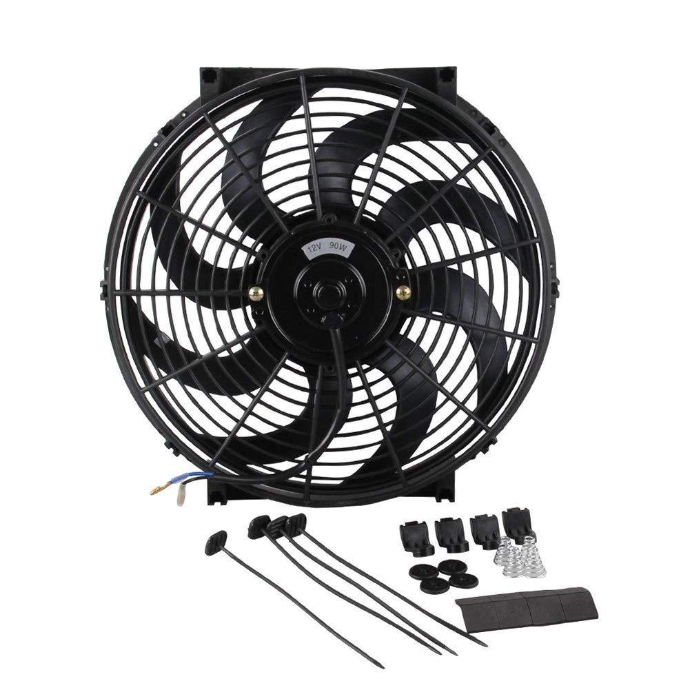 Bin Zhang Car fan high power modified water tank fan car cooling fan curved fan blade 14 inches (Color : Black) by Bin Zhang