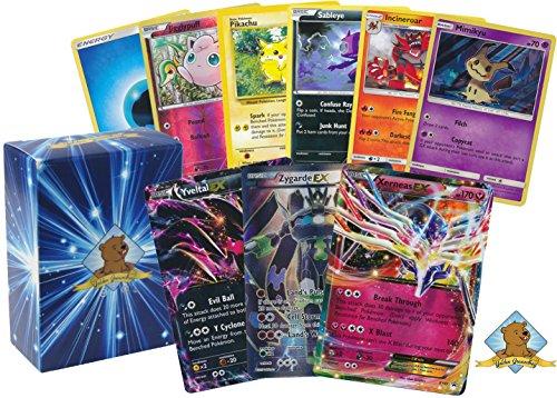 Pokemon 100 Card Lot Featuring 3 Kalos Region Legendary Pokemon Zygarde EX! Xerneas EX and Yveltal EX! Holo Rares Foils Energy! Includes Golden Groundhog Box!