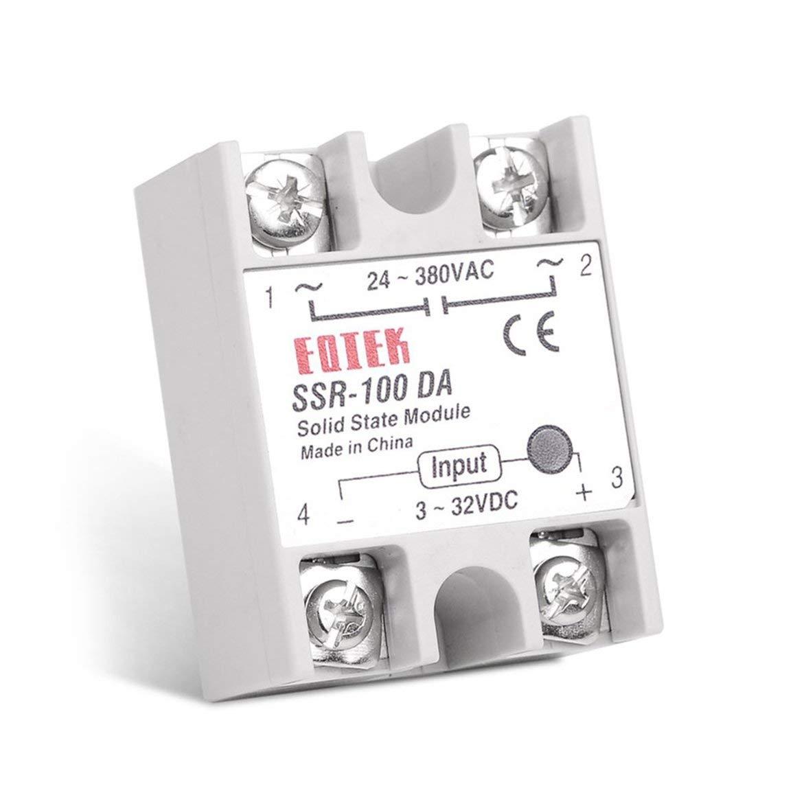 Farbe: wei/ß Solid State Relais DC-AC 10A 25A 40A 60A 80A 100A 12V 3-32V DC bis 220 V AC 24-380V Last einphasig SSR f/ür die Temperaturregelung -1