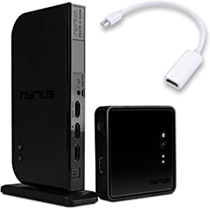 Nyrius Aries Home+ Wireless HDMI 2X Input Transmitter & Receiver for Streaming HD 1080p 3D Video and Digital Audio (NAVS502) - Bonus Apple Mini Display Port to HDMI Adapter Included