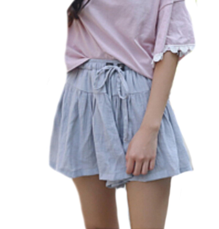 Vska Womens Sweet Casual White Chiffon Elastic Waist Shorts