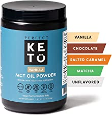 Perfect Keto MCT Oil C8 Powder, Coconut Medium Chain Triglycerides for Pure Clean Energy, Ketogenic Non Dairy Coffee Creamer, Bulk Supplement, Helps Boost Ketones, Vanilla