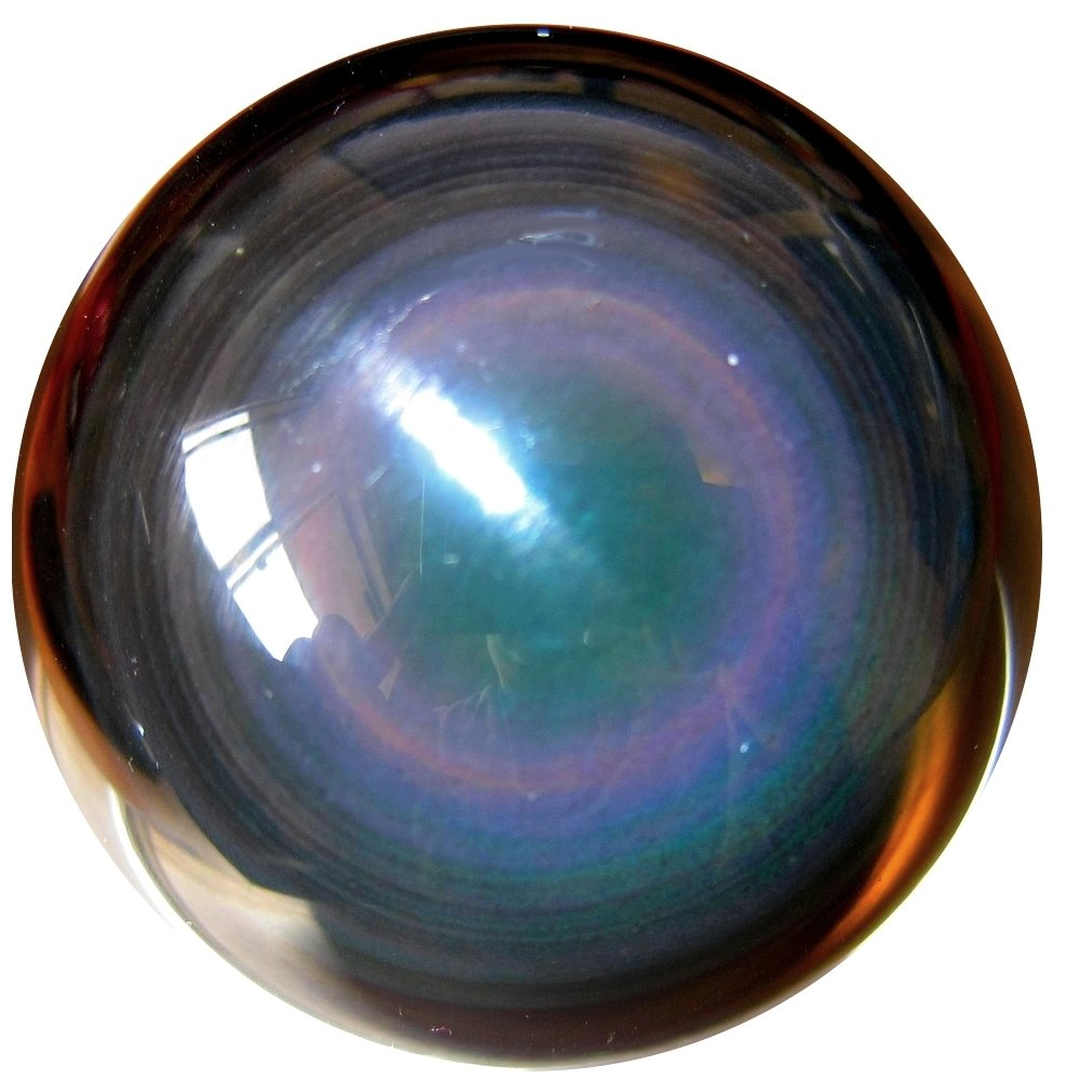 2.1 Inches SatinCrystals Obsidian Rainbow Ball Premium Quality Upper Chakras Predective Guardian Double Eye Sphere Healing Stone P01 (2.4 Inches)
