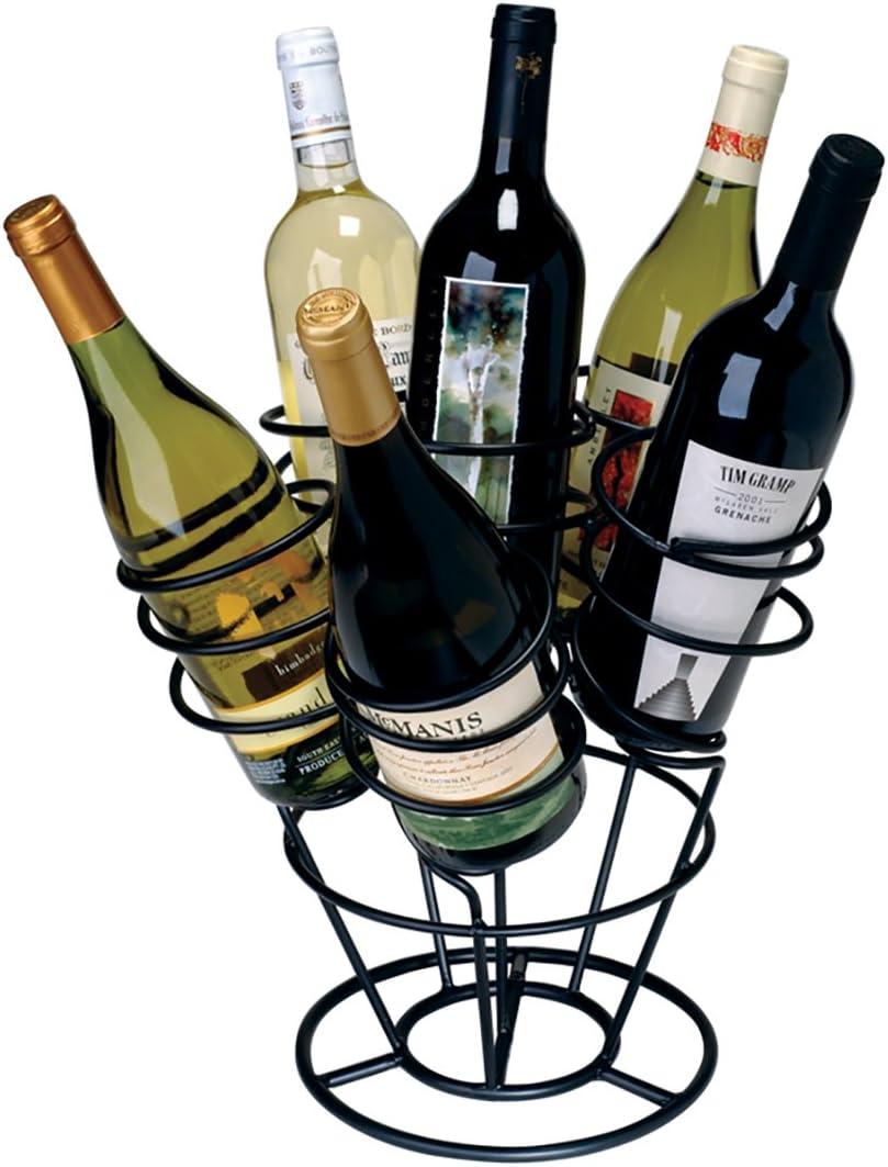 Oenophilia Bottle Bouquet Wine Rack, Black, Tabletop Metal Wine Rack, Countertop Wine Storage Holder - 6 Bottle