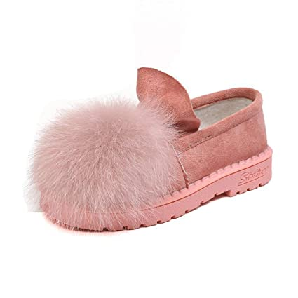 DANDANJIE Mocasín De Mujer con Talón De Pompones Zapatos Perezosos Zapatillas De Felpa Sexy Falso para