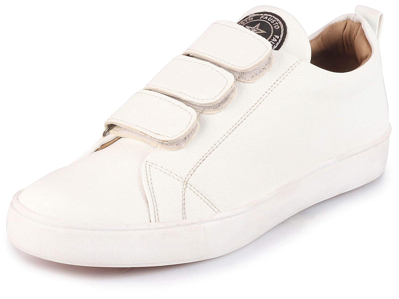 nytt billigt riktigt bekvämt nyanlända Buy FAUSTO Men's White Classy Velcro Sneakers at Amazon.in