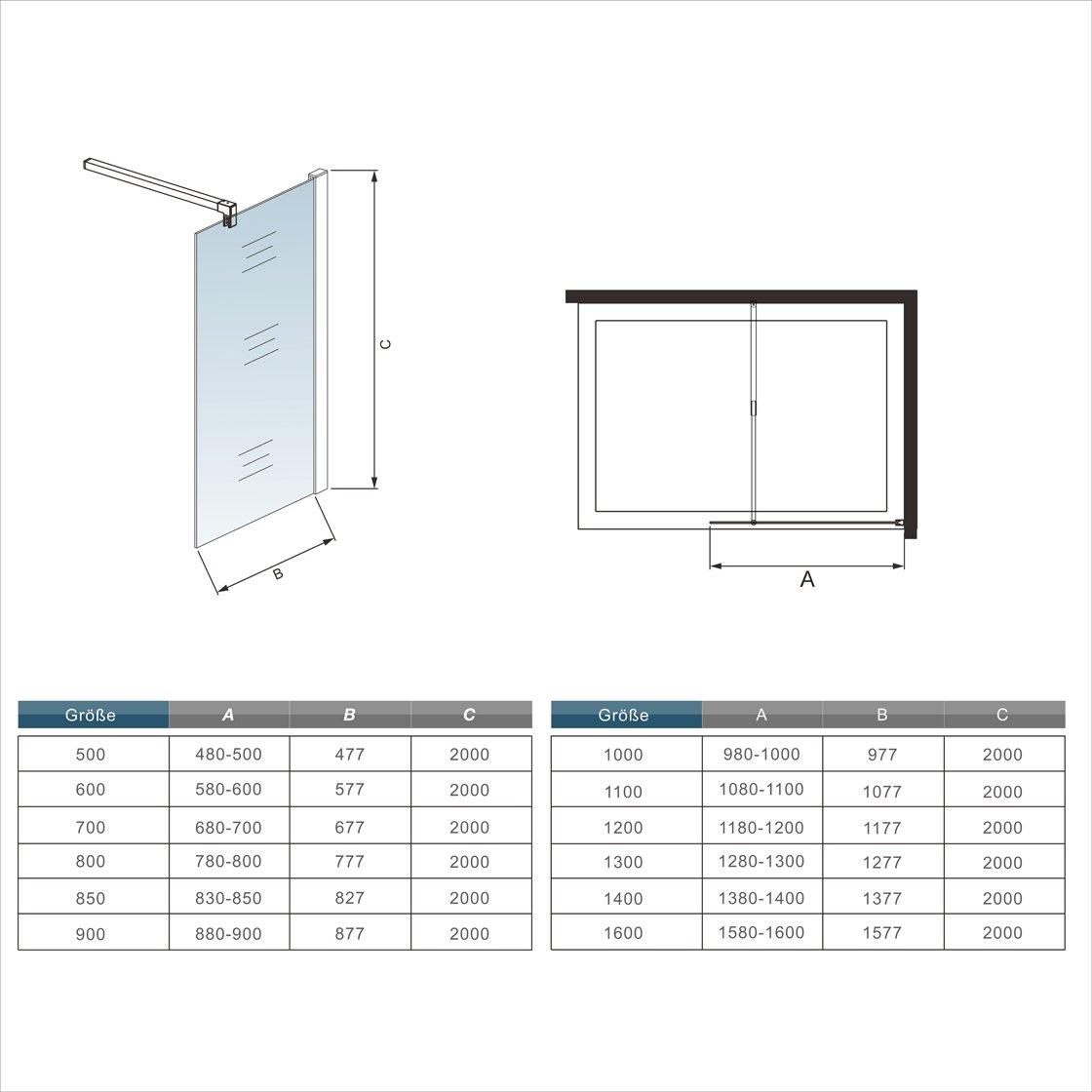 Mampara ducha Panel Pantalla Fija cristal 8mm templado para ba/ño Barra 140cm 60x200cm