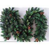 Best Artificial 9ft (2.7m) Luxury Christmas Garland with 16 Pine Cones Indoor Xmas 215 Tips