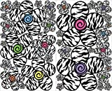 zebra print wall decals - Multicolored Zebra Print Flower Wall Stickers Decals