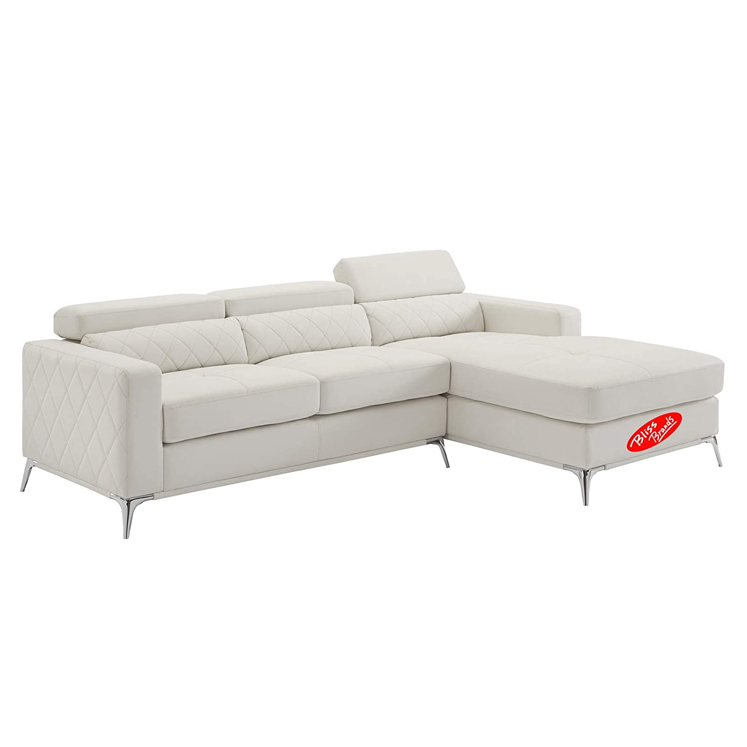 Astonishing Sectional Sofa With Right Facing Chaise 2 Pieces Set Faux Leather Recliner White 2019 Updated Model By Bliss Brands Gmtry Best Dining Table And Chair Ideas Images Gmtryco