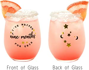 Drinking Divas – I've Waited Nine Months for This | Stemless Wine Glass Tumbler | Funny Gifts for Women, New Mom, Best Friend, Sister, Wife, Boss, Female Coworker | Fun Christmas, Birthday Present