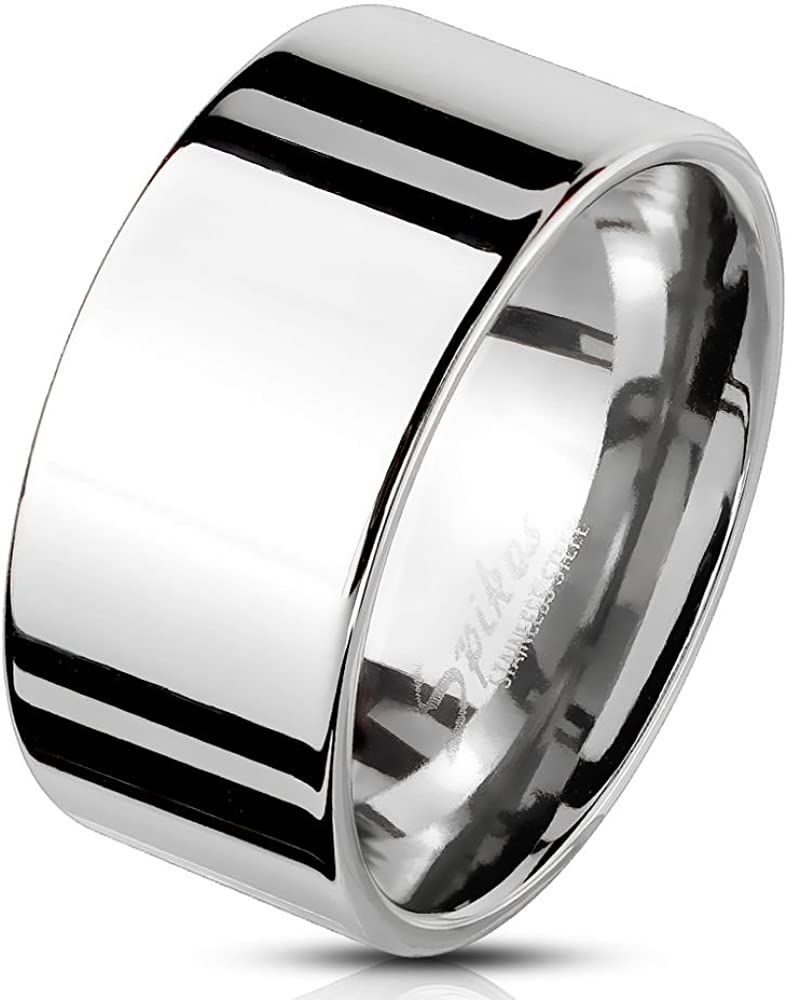 Bungsa® Anillo para hombre ancho, plata y acero inoxidable macizo.