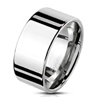 Bungsa Men's Solid Wide Silver Stainless Steel Ring