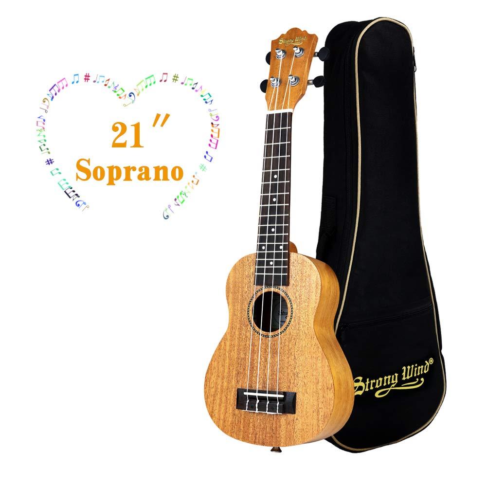 Ukulele Mahogany Ukuleles for Beginner Ukulele Pack Soprano Ukulele Starter Kid Guitar 21 Inch Uke for Kids Student and Adult with Gig Bag