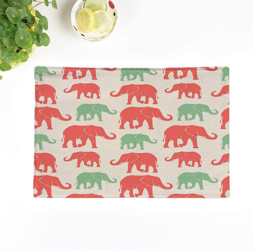 rouihot Set of 4 Placemats Colorful Pattern Silhouette Elephants Cute Abstract Africa Animal Asian 12.5x17 Inch Non-Slip Washable Place Mats for Dinner Parties Decor Kitchen Table