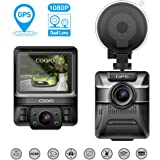 """COOFO Dual Lens Car Dash Cam,1080P FHD 150 ° Wide-Angle Lens, Car DVR Dashboard Camera Recorder,Built-In GPS,G-Sensor, 2.5"""" LCD, WDR and Parking Monitor Function"""