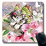 Ahawoso Mousepad Oblong 7.9x9.8 Butterfly Kitten Sitting Animals Wildlife Watercolor Pretty Aquarelle Kitty Fairy Fancy Fluffy Kittie Non-Slip Rubber Mouse Pad Office Computer Laptop Game Mat