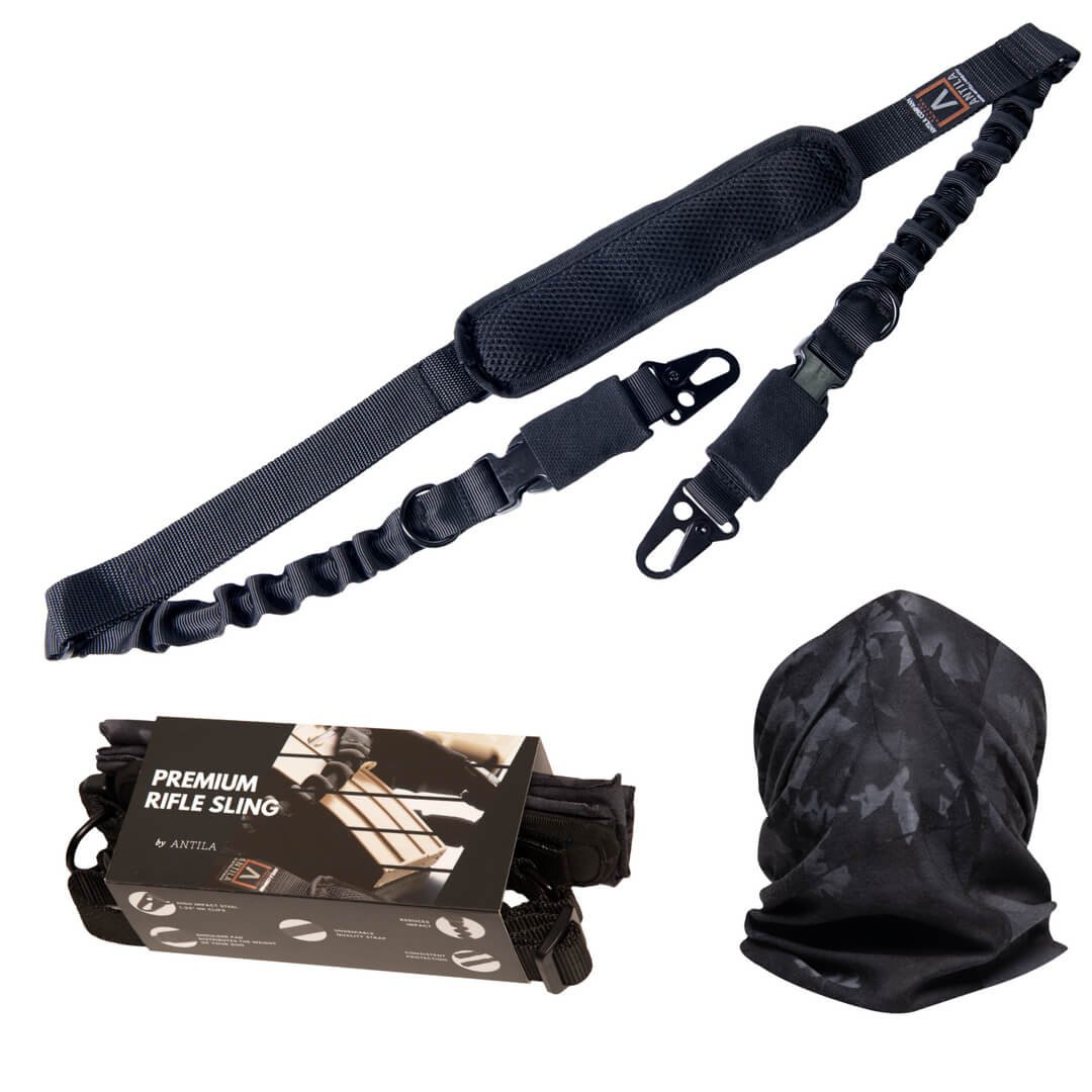 Antila 2 Point Rifle Sling, Strong and Durable for Your Favorite Gun, Adjustable High Impact Strap with Shoulder Pad and Strong Large Metal Clips + Bandana + Gift Box + 2 Skill Improvement eBooks