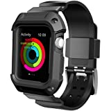 Apple Watch Band 42mm Series 2 Series 1, UMTELE Rugged Protective Case with Strap Bands for Apple Watch Series 2 Series 1 Sport Edition Black (Screen Protectors Included)