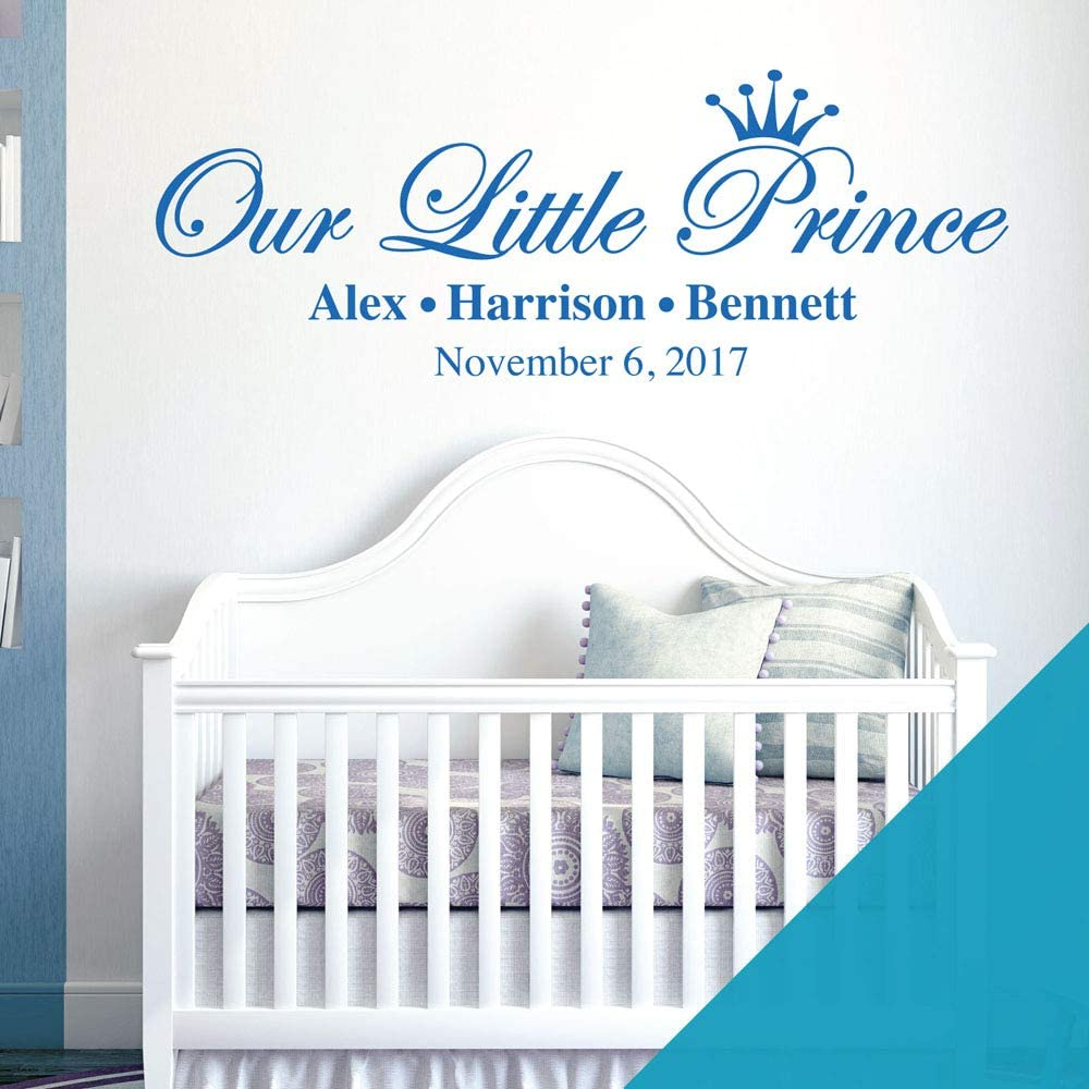 Baby Nursery Boys Wall Sticker Black Our Little Prince Names /& Date of Birth