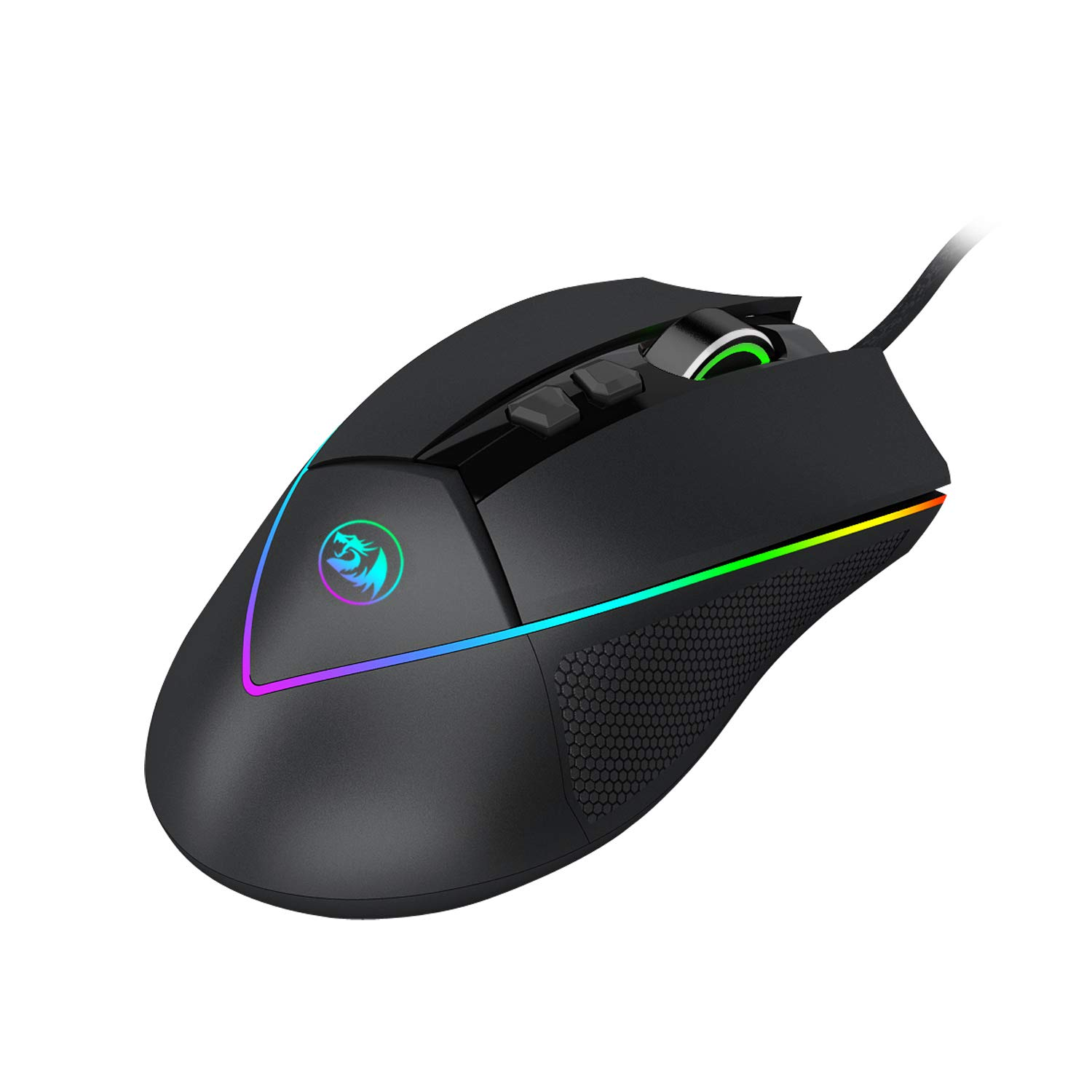 Redragon M909 USB Wired Gaming Mouse RGB Spectrum Backlit Personalized MMO PC Gaming Mouse 7 Programmable Buttons High-Precision Sensor modes up to 12400 DPI via Software