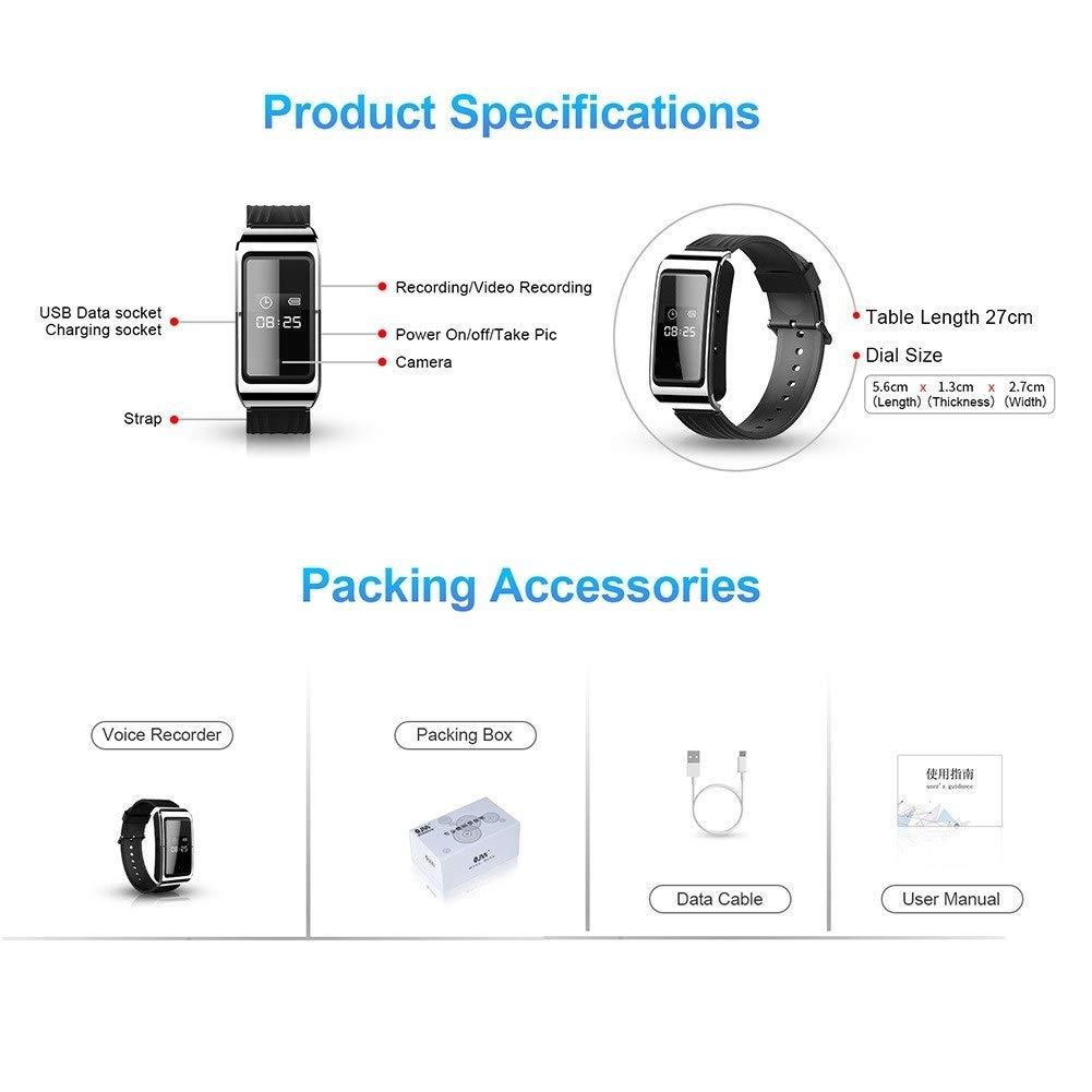 Size : 64GB Armband-Sprachaktivierter Recorder-Minikamera-Recorder-St/ützfotoaufnahme Digitales Digitales Diktierger/ät HD Versteckte Kamera-Uhr Stimme Digitales Diktierger/ät