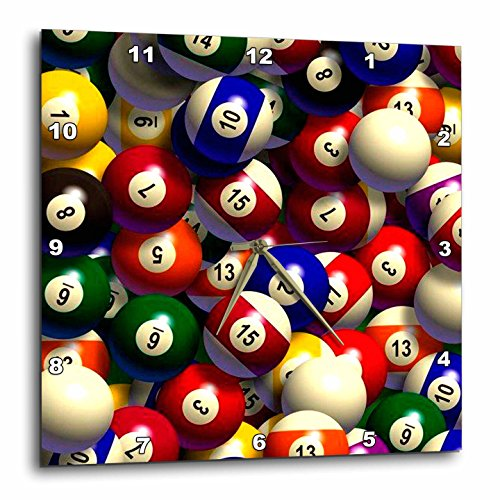 Billiards - Billiard Balls Pool - 10x10 Wall Clock (dpp_962_1) ()