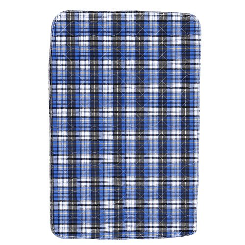 Plaid Waterproof Reusable Nappy, Quilted Washable Thickening Large Dog / Puppy Training Travel Pee Pads (Blue Plaid=80 90cm)