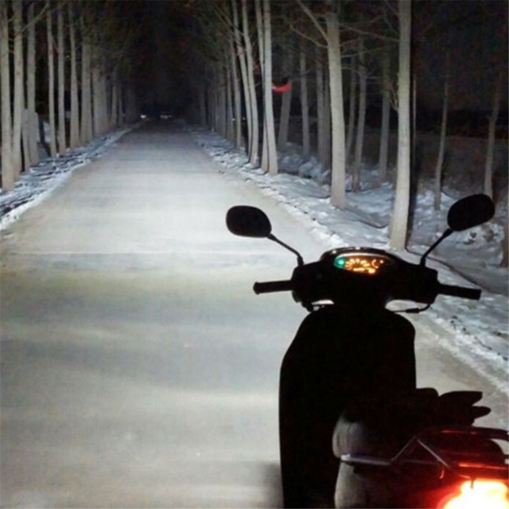Lzcat Faro de Moto H4 LED Bombilla Blanco BA20D P15D H6 HS1 3500LM 35W Faros para Moto Motocicleta 6COB 6000K 1 Set