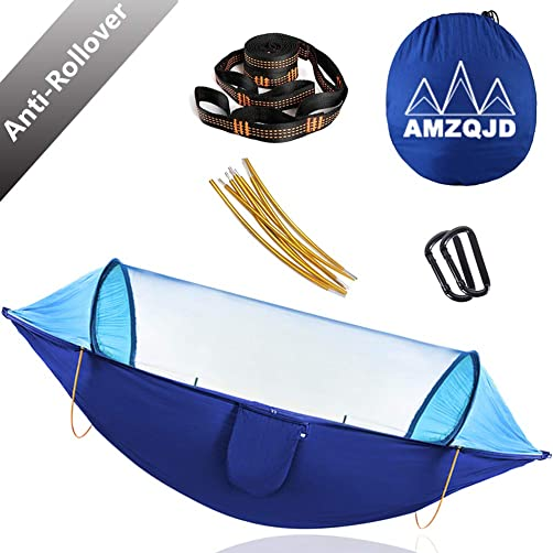 AMZQJD Hammock with Mosquito Net, Anti-Rollover Portable Double Hammock Tents for 2 Persons Outdoor Camping Hiking Travel Backpacking Backyard Beach Blue