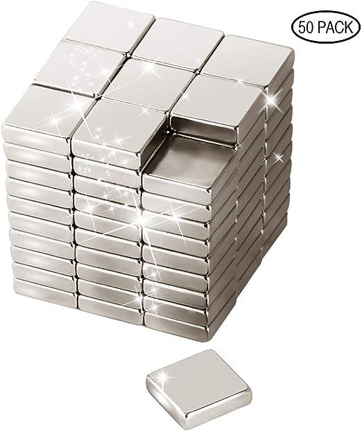 Imanes de neodimio, 10 x 10 x 3 mm, 50 unidades de imanes de tierras raras resistentes para refrigerador, imán circular magnético grado N48 perfecto para nevera, tablero de clavijas, tablero blanco: