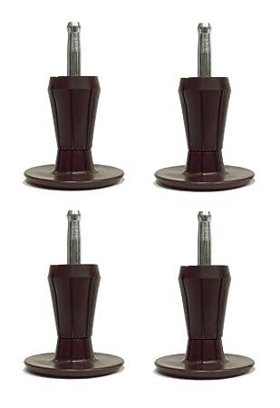 2 Piece Metal Stem Bed Frame Glides/Feet/Legs W/Socket Sleeves