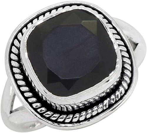 Señoras plata esterlina 925 Anillo De Piedra Oval Ónice Negro Piedras Preciosas Joyas Regalo