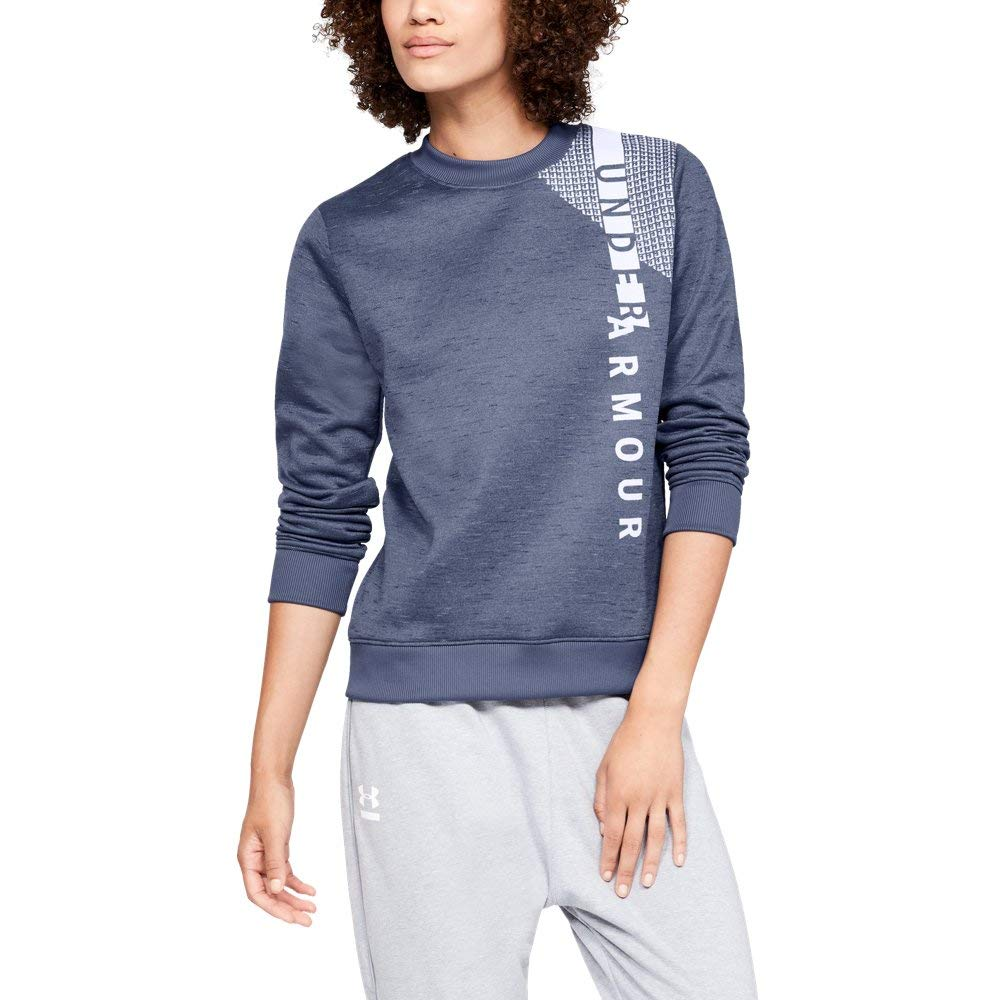 Under Armour Women's Synthetic Fleece Crew Word Mark, Utility Blue (496)/Washed Blue, X-Small